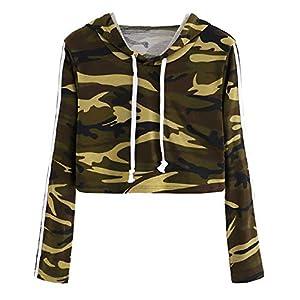 BaojunHT Ladies Sexy Pullover Camouflage Sweatshirt Long Sleeve Crop Top Hooded Blouse