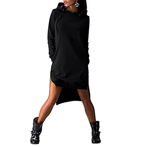 CHIC-CHIC Frauen Pullover locker Hoddie langarm Blazer Pulli Jumper lässig Hoodiejacke Tops Herbst Oberteil Winter Mantel mit Kapuze (EU38, Schwarz)