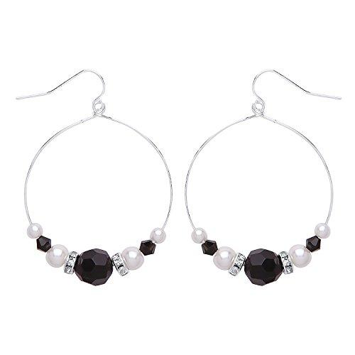 Front Row Damen Ohrringe Silber Reifen mit weißen und schwarzen Kristallen