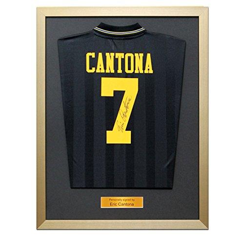 Framed Eric Cantona Back Signed Manchester United 1994 Black Shirt