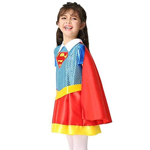 QWE Halloween Cosplay Kostüm Mädchen Performance Kleidung Superman Rollenspiel Mantel Kleid Set (Fan Aus Superman Kostüm)