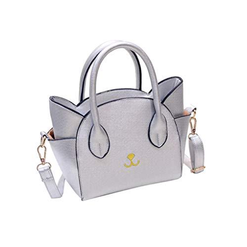 Dorical Damen Groß Umhängetasche Damen Niedlich Katze Ohr Crossbody Handtasche Taschen Kuriertasche Tragetasche Taschen Handtaschen/Schultertasche Elegant Stylische Tote Bag für Frauen(Silber)