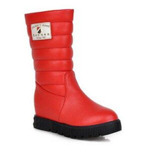 Ch & Tou Botines Para Mujer-casual-cómodopu (poliuretano) -negro / Rojo / Blanco Rojo