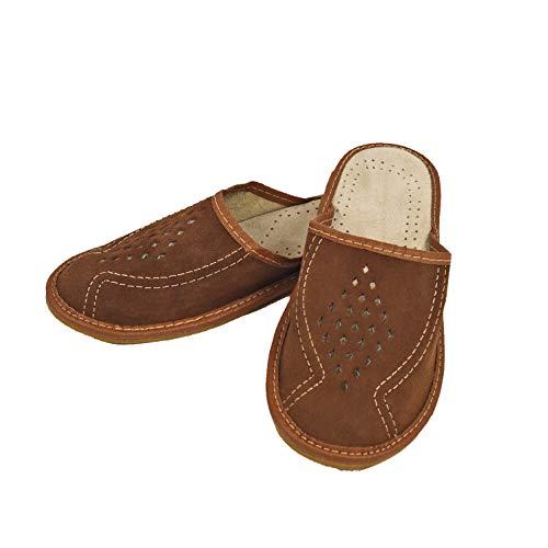 DF-SOFT Herren Herrenpantoffel Pantoffel Hausschuhe Haus Schuhe Leder Pantoffel Lederpantoffel Pantoletten Schlappen Modell 64 (43 EU)