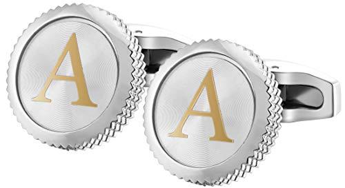 GEMONY Gemelli Camicia da Uomo 2PCS, Confezione Regalo - qualità Premium Lettera dell'alfabeto Personalizzato Wedding Business A-Z(CL-004A)