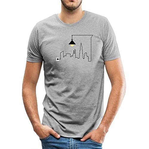 Men's Classic Tees Creative Circuit Outlines City Shape Short-Sleeve Crewneck Cotton T-Shirt XXXL Gray