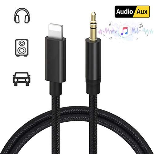 Tenwow Auto AUX Kabel für iPhone zu 3,5 mm Auto AUX-Kabel Kopfhörer-Adapter kompatibel für iPhone XS/XS Max/X / 8/8 Plus / 7 / 7Plus iPod iPad,Kopfhörer, Stereo,Lautsprecher (Schwarz-1m-Nylon) Auto Stereo-kabel