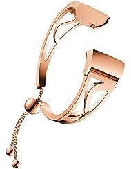 Cooljun pour Fitbit Charge 3,Bande de Montre de Remplacement de Bracelet de Perles luxueuses