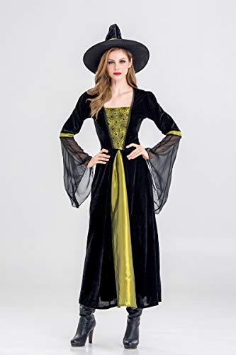 ZC Dawn Halloween Kostüme Damen, Mädchen Hexe Halloween Kostüm, Sexy Hexe Halloween Kostüme für Damen mit Halloween Cosplay Party Overall - Böse Alte Dame Kostüm