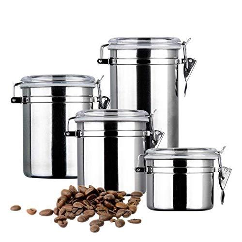 Cozyroom Kaffeedosen-Set, 4 x Edelstahl-Kaffeedosen-Set mit Klemme, luftdicht, Behälter für Tee, Zucker, Kekse, Bohnen, Nüsse und Pulver -