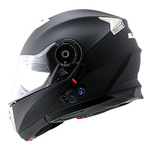 LS2 Flip Up Helmet 318 Matt Black with Bluetooth-XL