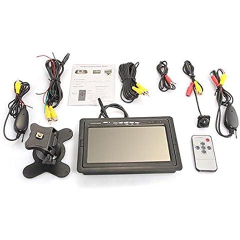 lovelifeast 7LCD Pantalla Digital Coche Monitor + 2.4GHz Copia de seguridad inalámbrica de la cámara Retrovisor Visión Nocturna portátil auto