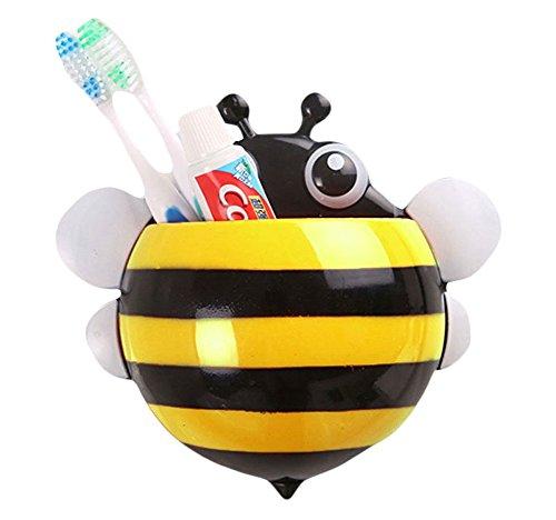 Dosige 1pcs Bienen Sucker Zahnbürstenhalter Biene Zahnbürstenhalter Vakuum-Sauger Bad Regale Lagerregal Toothbrush Kunststoff PP 16,5 * 15cm (Gelb)