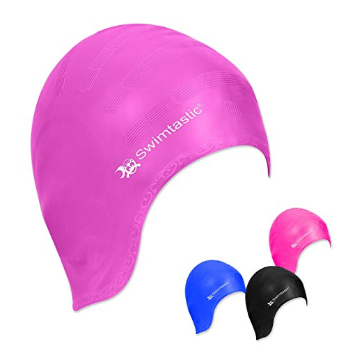 Swimtastic – Gorro de Natación Cubre Orejas para Pelo Largo – Especialmente Diseñado para Nadadores con Pelo Largo, Grueso o Rizado