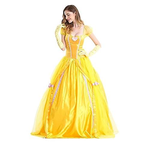 Karneval Klamotten Kostüm Belle Märchen Prinzessin Dame Luxus Karneval Damenkostüm Gelb XL