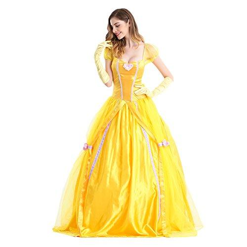 Karneval Klamotten Kostüm Belle Märchen Prinzessin Dame Luxus Karneval Damenkostüm Gold L