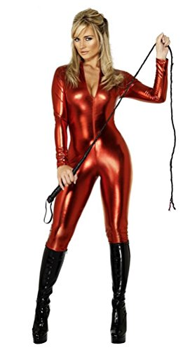 fuhoahdd 2 Way Zip Catsuit Wet Look Sexy Patent Leather Body Suit, L