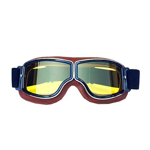 Adisaer Radbrille Transparent Retro Helmbrillen Offroad Motorradbrillen Retro Brillen Mit Brille Orange Yellow Damen Herren