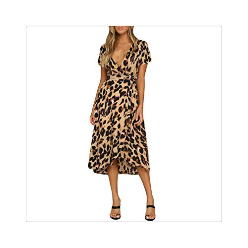 PLOPYSE& 2018 Womens Leopard Print Boho Maxi Dress Ladies Holiday Long Short Sleeve Dress Brown XL Jessica Simpson Nordstrom