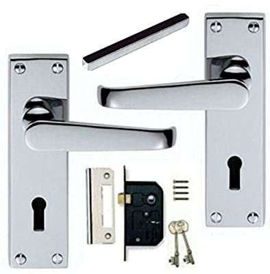 Victorian Polished Chrome Lever Lock Door Handles + Lever Lock Set (KA) - inexpensive UK light shop.
