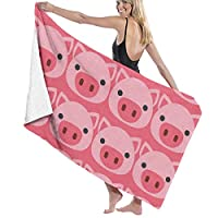 TZ Charming Bath Towels, Cute Pig Face Vintage Wash Cloths 100% Polyester Beach Towel Highly Absorbent Body Towel Quick Dry Bath Sheets for Home Hotel Spa, 80x130cm