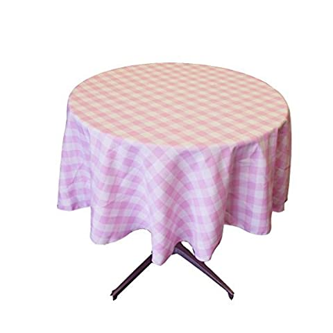 LA Linen Poly Checkered Round Tablecloth, 58-Inch, Pink/White by LA Linen