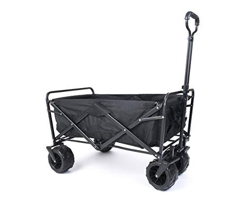 Umi. Essentials Bollerwagen Handwagen Gartenwagen Strandwagen Faltbar Transportwagen für Alle Gelände Geeignet (Schwarz)