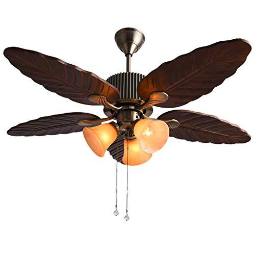 Deckenventilator Kreative Innenbeleuchtung Lüfter Kronleuchter mit 4 Holzlüfterflügeln/Manuelle Zugseilsteuerung/Home American Retro Dekorative Deckenleuchte E27X3