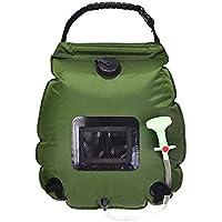 QWL Bolsa de Ducha Solar, 20L para Acampar al Aire Libre, Bolsa de Agua de PVC, Bolsa de Almacenamiento de Agua portátil para Exteriores (Verde Militar) 45 * 50 * 50Cm