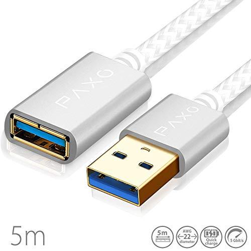 5m Nylon USB 3.0 Verlängerung weiß, A-A USB Verlängerungskabel mit eleganten Alluminiumsteckern, Nylon Stoffmantel & Kabelklett