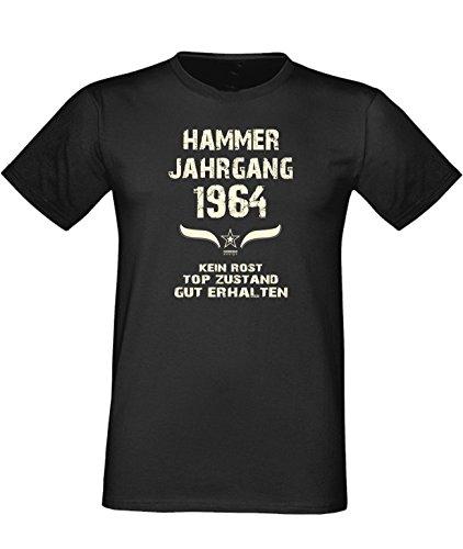 Humorvolles Happy-Birthday Fun-t-shirt Geschenk für den liebsten Menschen mit Sprüche-Motiv: zum 52. Geburtstag Hammer Jahrgang 1964 Farbe: schwarz Schwarz