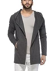 Tinted Mens Cotton Blend Hooded Cardigan (Medium, Anthera)