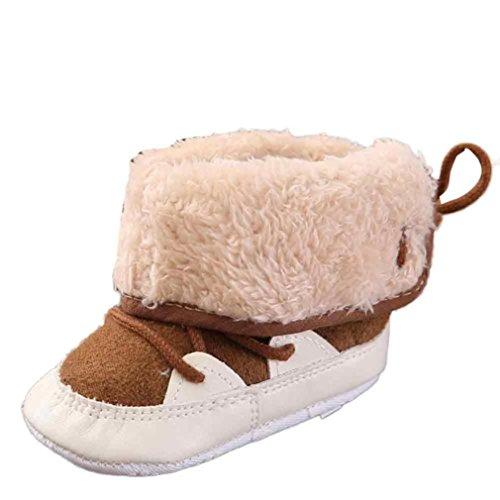 Ouneed® 0-18 mois Haute Chaussures Fourré Lacet Souple Cuir Boots (12cm, Marron) Marron