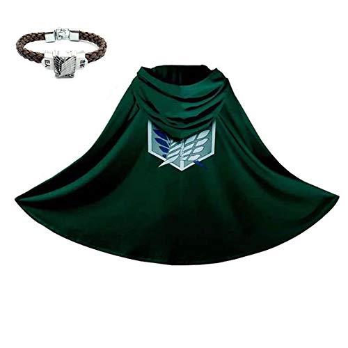 Legion Scouting Kostüm - Templom SIX Anime Shingeki no Kyojin Umhang Cape Attack on Titan Scouting Legion Cosplay Kostüm Umhang Kleidung mit Armband(L)