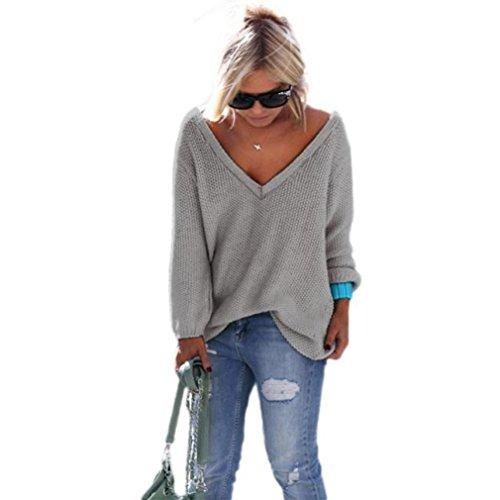 Longra Damen Mode Strickjacke Pullover Damen Herbst und Winter Lose V-Ausschnitt-Pullover Langarm Pullover Casual Tops Sweater Strick Pullover Langarm Shirts (M, Gray) (Top Sleeve Print-kimono)