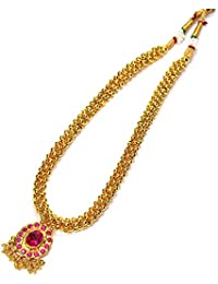 Kreations Thushi Traditional 1 Gram Micro Gold Plated Pink Pendent Necklace Jewellery For Girls And Women