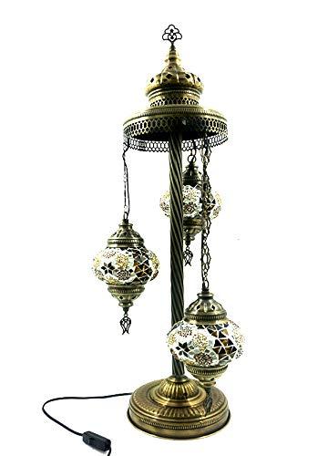 Orientalische Türkische Tiffany Glasmosaik Turkish Asiatisch Handgefertigte Mosaik Glas Boden Lampe Innenleuchte Orientalische Lampe Glas Stehlampe Bodenlampe 3 Lichter Glasgröße 2 (Braun-Gold) -