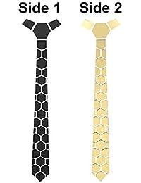 Krystle Classy Traingles Reversible Matte Black And Shining Golden Mirror Tie