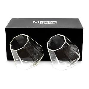 MBUKO Originelle Diamant Whiskygläser im Set (2 Stück) mit Edler Boxverpackung - Whiskey Diamond Kristall Glas Geschenk