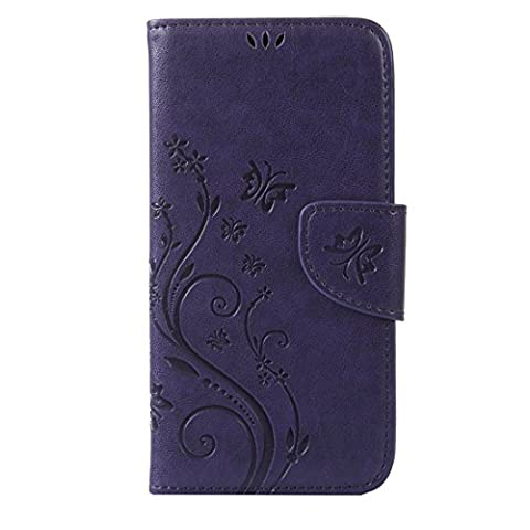 RanRou Samsung Galaxy S6 Edge Case Leather Case [Butterfly Flower Pattern],Samsung Galaxy S6 Edge Case Flip PU Leather Wallet Card Slot Stand Case Cover For Samsung Galaxy S6 Edge Case -Royal blue