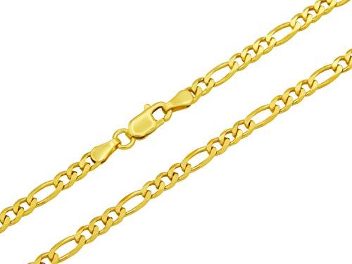 Figarokette 925 Sterling Silber vergoldet 3,5mm breit Länge wählbar 45 50 55 cm Silberkette Halskette Gold Kette Damen (45)
