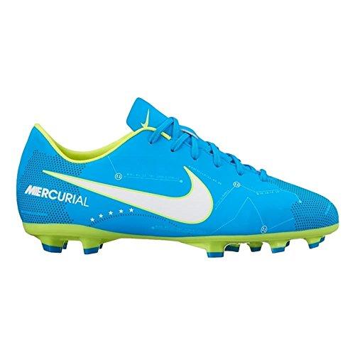 Nike JR. MERCURIAL VICTORY VI NJR FG Kinder Fußballschuh (Hartböden, Ground Stollen Fußball Stiefel Kind 31.5, männlich, Blau, Einfarbig) (Fußball Schuhe Jungen Nike)