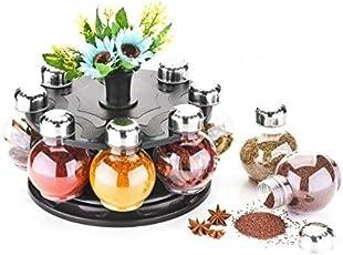PALAK Multipurpose 8-Piece Condiment Revolving Plastic Spice Rack Set - Metallic Siver Finish(Medium)