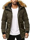 Husaria Designer Winterjacke Funktionsjacke mit Kapuze und echtem Fell sehr hochwertig XXL Fell Parka 1006 (M, Khaki)