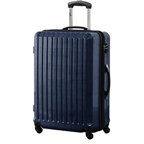 FIELDOOR スーツケース TSAロック搭載 軽量 アルミフレーム L ブルー 鏡面ヘアライン仕上げ ・約77x53x31cm・5.0kg・101112リットル