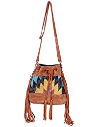 IndiWeaves Women Vintage Handmade Kilim Leather Handle Cross Body Sling Bag - B07657981K