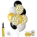 FEPITO 46 Stück Ballons mit Ballon Inflator für Hochzeit Geburtstag Baby Shower Party Dekorationen 12 Zoll (Gold Konfetti, Schwarz, Weiß, Gold)