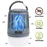 IREGRO Bug Zapper 2 en 1 Lampe Portable Tueur de Moustique LED Lanterne de Camping avec 3 Modes d'éclairage pour la randonnée, Camping, randonnée, pêche, d'urgence (Gris)