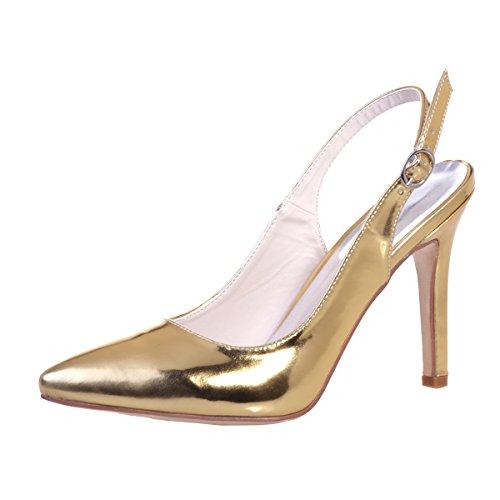 Chalmart Escarpins à Aiguille Sandales à Talon Chaussures De Soirée Mode élégant Doré