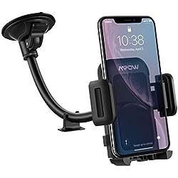 Mpow [Version Mise à Jour] Support Téléphone Voiture pour Pare-Brise, Réglable à 360 degrés et antidérapant, adapté à Un Support de Téléphone Portable pour iPhone 11 Pro/XS Max/XR, Galaxy, GPS, etc